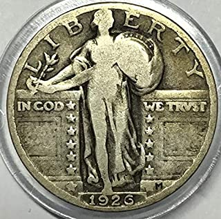 1926 U.S. Standing Liberty Silver Quarter Dollar, (1-Coin) Strong Full Date (1/4) Fine to XF