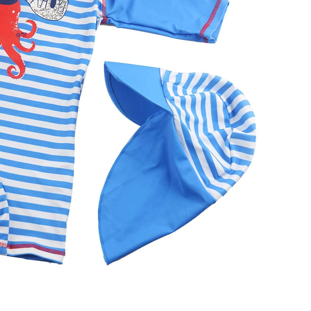 Baby Boys Swimsuit One Piece Zipper Swimwear with Hat Rashguard Surf Suit UPF50+