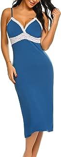 Long Nightgowns Womens Sleeveless Sleepwear Cami Lace Slip Dress S-XXL