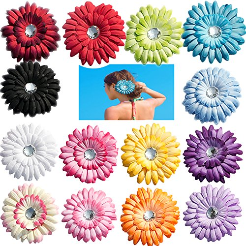 """Price comparison product image 14 Pcs Bridal Big 4"""" Gerbera Daisy Flowers Alligator Clips Hairpins for Girls Children Kids Teens Women Holiday Travel Wedding Decoration"""