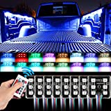 SUNJOYCO LED Truck Bed Lights, 8Pods RGB Multi-Color Lighting Kit with 48 Super Bright 5050 SMD LEDs & Wireless Remote & Waterproof for Truck Pickup Cargo Trailer RVs Boat - 8Pcs RGB Upgraded Version