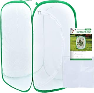 Pllieay 36 Inch Tall Large Butterfly Habitat Cage with Clear PVC Film, Collapsible Terrarium Pop-up 24 x 24 x 36 Inches Wh...