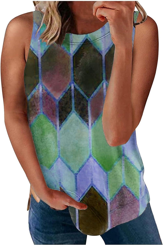 Summer Women Fashion O-Neck Sleeveless Printed Slim Vest Shirt T-Shirt Casual Tank Tops