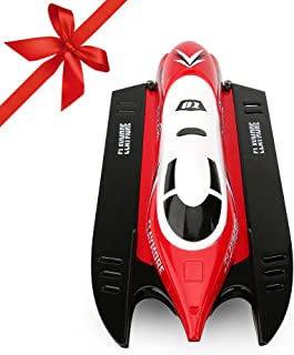 FUNTECH Remote Controlled Boat High Speed 20MPH 2.4GHz Radio Remote Controlled Boat with Self-righting Auto Roll Back, RC Boat for Pools,Lakes,Rivers, for Kids Adults for Outdoor Adventure