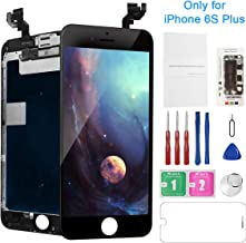 for iPhone 6S Plus Replacement Screen Black with Camera, Model A1634, A1687, A1699, Mobkitfp Full Assembly LCD Display 3D Touch Screen Digitizer Repair Kit with Proximity Sensor Ear Speaker
