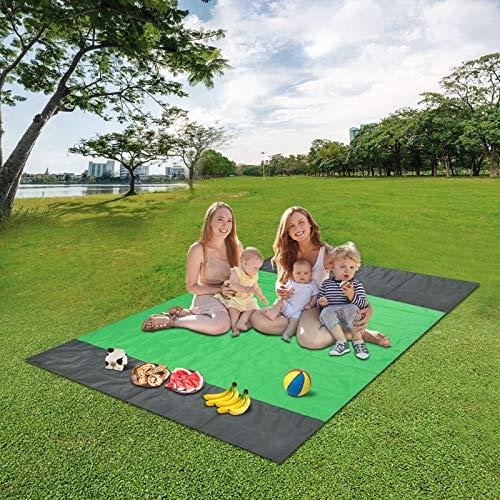 GOHIGH Sandfreie Stranddecke, Outdoor, wasserdicht, große Strandmatte, sanddicht, Picknickdecke für 3–7 Erwachsene, Reisen, Camping, Wandern, Musik-Festival, mit Tasche (23,8 x 200,7 cm) grün