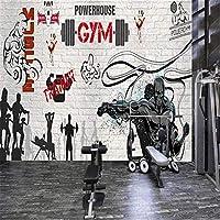 QQYYYT ウォールアートポスター-3D壁画壁紙パーソナリティボクシングレンガ壁グラフィティスポーツフィットネスクラブ画像壁壁写真ポスター壁装飾絵画