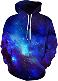 Hopioneer Unisex 3D Print Galaxy Pullover Sweatshirt Long Sleeve Hooded Hoodies with Pockets