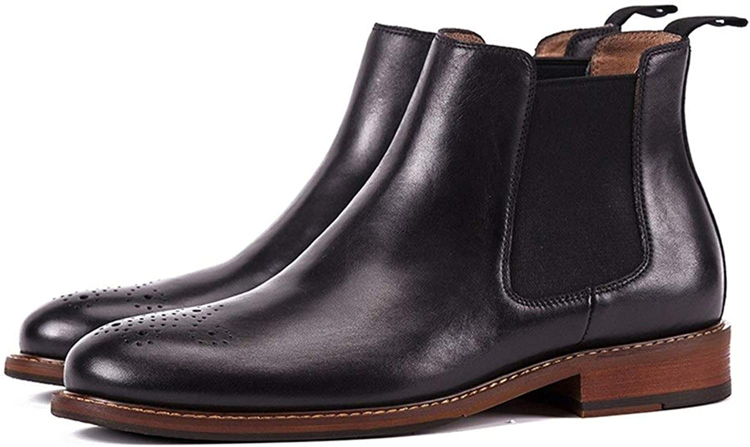 Men's Chelsea Boots Leather Casual Boots Leather Boots Handmade Leather Autumn and Winter European and American (color   Black, Size   8.5UK)