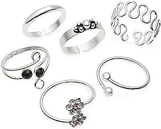 Silverline Jewelry Sterling Silver Toe Rings, 6 Pcs Adjustable Open Toe Rings Set