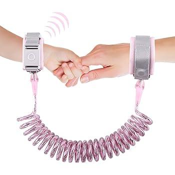 最新設計の子供用安全ロープ、迷子防止紐、迷子防止ハーネス、子供の反失われた手首のリンク縄、反ロスト安全縄(2メートル、安全誘導錠、 ナイトビジョン反射ストリップ) (ピンク)