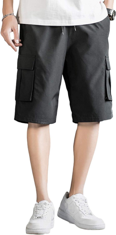 Wantess Men's Cargo Shorts Fashion Solid Color Casual Comfortable Drawstring