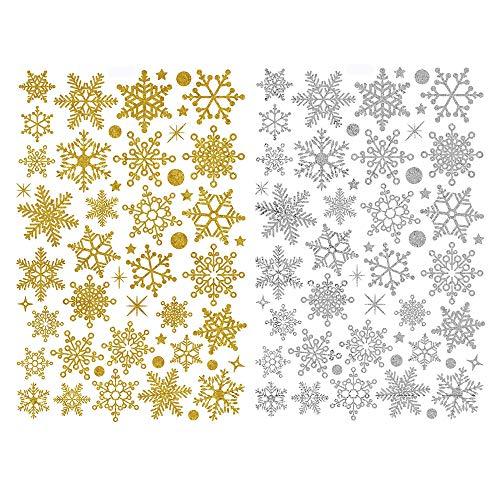 Deggodech Natale Vetrofanie Finestra Rimovibile Adesivi Vetro Murali Da Muro Oro E Argento Fiocco Di Neve Natale Adesivo Finestre Decorazione Di Natale Negozi Murale Vetrina Adesiva Christmas Stickers
