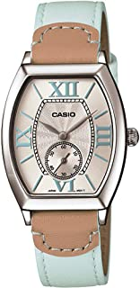 ساعة نسائية بمينا بيج وسوار جلد من كاسيو Ltp E114L 2Adf، كوارتز، انالوج