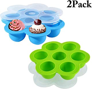 ZAMISS 2PCS Silicone Egg Bites Molds for Instant Pot Accessories,Food Freezer Trays for Baby Food Storage Container Ice Cube Trays Reusable Food Storage Containers With Lid,Sous Vide Egg Poacher Fits