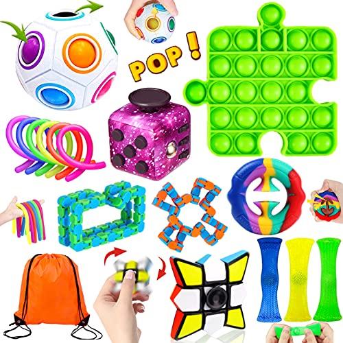 Paochocky Juego de Juguetes Sensoriales Antiestres 17PCS Fingers Sensory Toys con Bubble Sensory Toy para Niños Adultos Aliviar El Estrés para Autismo TDAH y TOC en Oficinas Hogares Aulas con Bolsa