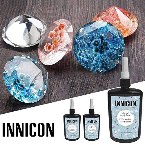 INNICON 250gX2 epoxyhars van uv-glas, transparant, zonder mengeling, uv-lijm, sneldrogend, voor doe-het-zelf sieraden, handgemaakte hangers, betoverende halskettingen, oorbellen