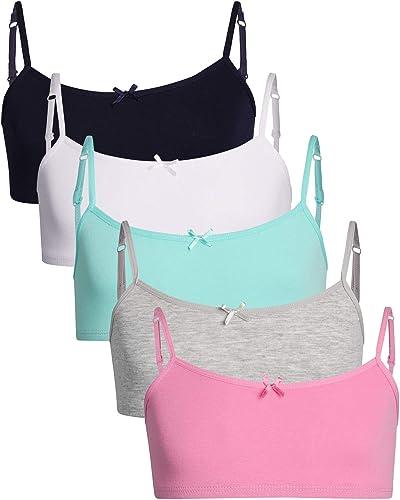 Rene Rofe Girls Cotton Spandex Cami Crop Training Bra with Adjustable Straps (5 Pack)