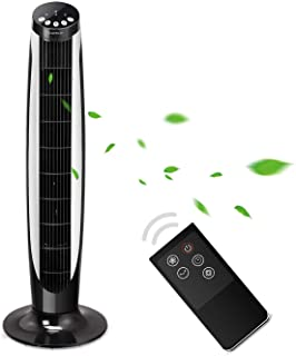 Aigostar Eiffel 33LRG - Enchufebritánicode3pines, Ventilador de torre oscilante con mando a distancia.