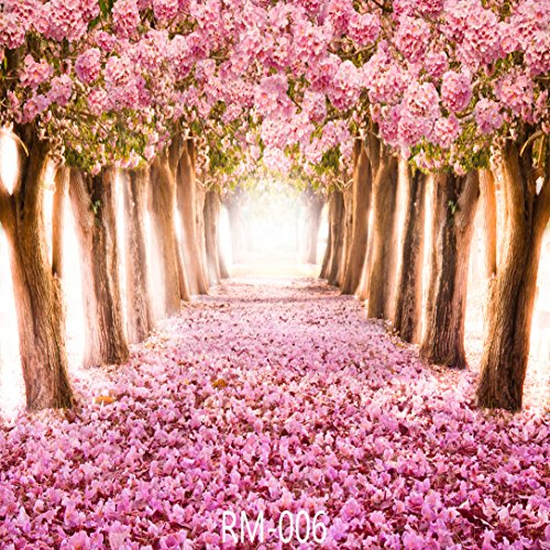 GoodsFederation 10x10ft Cherry Blossoms Street Vinyl Photography Backdrop Amazing Sakura Flower Road Background for Wedding Customized Photo Studio Props RM-006