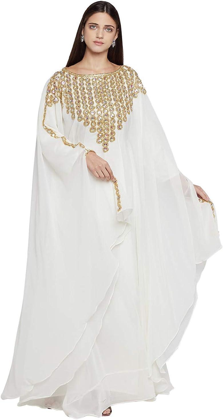 Party ANIIQ Women Dubai Kaftan Farasha Caftan Long Maxi Dress Long Sleeves Georgette Ethnic Evening Bridal Wedding Dress