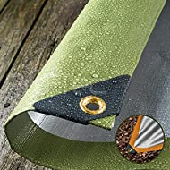Ideal for: Building, DIY, Camping, Ground Sheet, Garden, Protection from bad weather. Heavy Duty 270GSM, WATERPROOF, Woven Polyethylene. Double Sided. Green / Silver. Plastic Reinforced Corners, 20mm Brass Eyelets. Rot Proof, Reinforced Rope Hems, He...