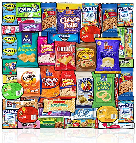 Blue Ribbon Care Package (45 Count) Ultimate Sampler Mixed Bulk Bars, Cookies, Chips, Candy Snacks Variety Box Pack Office Schools Friends Family Military Treats College Students Easter Gift Basket
