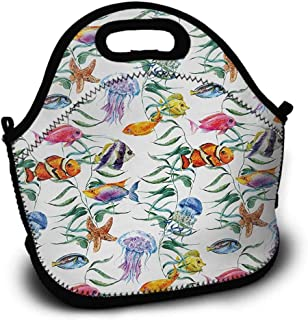 Jellyfish, Picnic Bag, Sundries Bag, Shopping Bag, Lunch Bag, Pattern Printing, Tropical Coral Reef with Seaweed Algae Jellyfish Aquatic Saltwater Nemo Theme, 5.5x11x11 inch, Multicolor