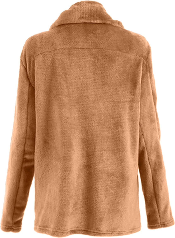 Women's Long Sleeve Lapel Zip Up Faux Shearling Shaggy Oversized Coat Jacket with Pockets Warm Winter