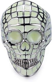 SINLEO Stainless Steel Cool Luminous Glow Skull Head Ring for Men Women Halloween Skull Jewelry