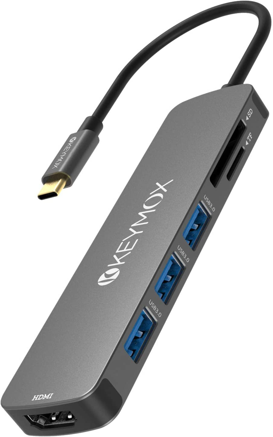 KEYMOX USB C Hub HDMI, MacBook Pro Multiport Adapter USB C Dongle, 4K USB-C to HDMI, 3 USB 3.0 Ports and SD/TF Cards Reader for MacBook Air Pro ChromeBook Pixel Matebook XPS More Type C Devices