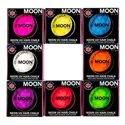 Moon Glow – Craie pour cheveux néon UV 3.5g Assortiment de 8 couleurs. qui produisent un effet fluo incroyable sous la lumière ultraviolette ou noire !