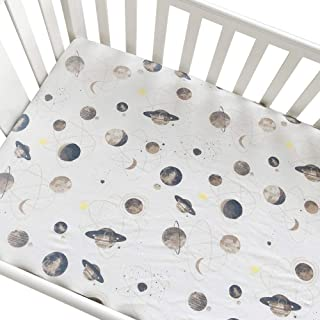 Crib Sheets Pure Cotton Baby Fitted Sheet Infant Cot Bed Sheets Soft Breathable Newborn Bedding Soft Mattress Cover Protector (Planet)