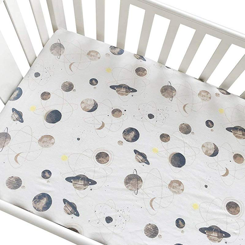 Crib Sheets Pure Cotton Baby Fitted Sheet Infant Cot Bed Sheets Soft Breathable Newborn Bedding Soft Mattress Cover Protector Planet