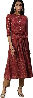 ALENA Women Casual Printed Anarkali Mandarin Collar Maroon Cotton Kurta