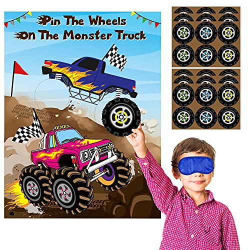 Monster Truck Pin The Tail Games Party Supplies Pin The Wheels on The Monster Truck Poster Birthday Collection Favor Baby Shower Background Game Accessories for Kids ( Includes 2 Blindfolds )