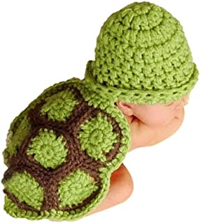 Baby Photo Prop Christmas Newborn Outfit Clothes Knit Crochet Photography Infant Cute Handmade Turtle Costume Hat Cap Unisex Girl Boy Set BLUETOP