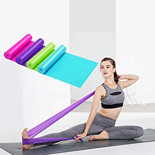 YOGNOEL 59 inch Yoga Elastic Straps Latex Rope for Stretching Rubber Resistance Belt Fitness Band - 4 Colors in 1 Pack