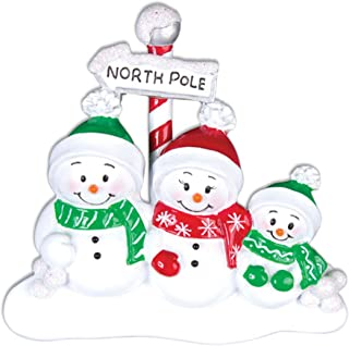 Personalized North Pole Family of 3 Christmas Tree Ornament 2019 - Snowman Parent Child Hat Play Snowball Red Green Candy Cane Sign Winter Activity Tradition Gift Year - Free Customization (Three)