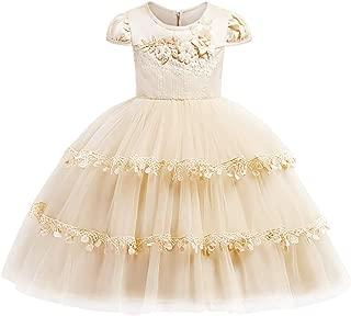 Girls Round Neck Cap Sleeve 3D Flower Layered Ruffle Hem Pageant Dresses