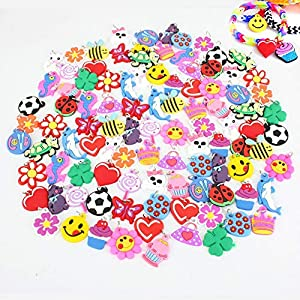 VARIETY OF CHARMS: 100 assorted charms in each package, duplicates will vary. ATTACHED METAL RINGS: For easy and quick attachments to add on your rainbow bracelets. CREATE YOUR OWN DESIGNS: You can create your own personalized unique bracelets with o...