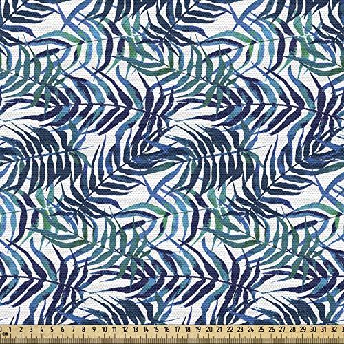 ABAKUHAUS Palmblatt Stoff als Meterware, Tropische Natur Üppig, Qualität aus Gewebten Stoff Wohnaccessoires, 5M (148x500cm), Türkis Marineblau Himmelblau
