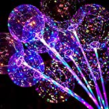 12 Pcs Light Up BoBo Balloons, Clear Luminous Balloon with Long Handles, 20 Inches Bubble Bobo Balloon with String Lights for Christmas Birthday Wedding Party Decoration (Colorful)