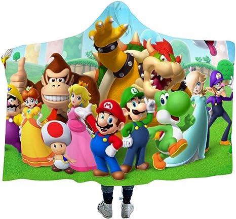 Kids,39x51 inch MEW Anime Mario Hooded Blanket,Mario Luigi Sonic,Arctic Velvet Wearable Super Soft Warm Throw Blanket,for Winter Sofa School Home Travel Picnic Carrying