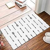 Libaoge Indoor Doormat Super Absorbs Mud Latex Backing Non Slip Door Mat Black and White Arrow Kitchen Bathroom Entryway Rugs for Patio & Front Door - 16x24in