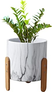 Modern Decorative Planter with Wood Stand, Unbreakable Concrete, 7 Inch with Drainage (White)