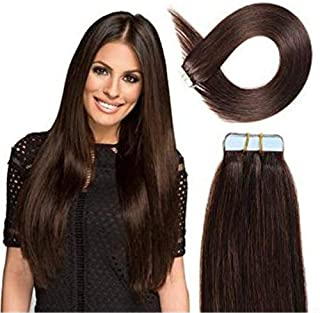RemeeHi New Style Natural 20 Pieces Straight Tape In HairExtensions 28 Inch 60 Gram Per Package 4# Medium Brown