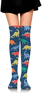 MKLOS 通気性 圧縮ソックス Breathable Cartoon Dinosaur Tube Socks Over Exotic Psychedelic Print Compression High Tube Thigh Boot Stockings Knee High Women Girl