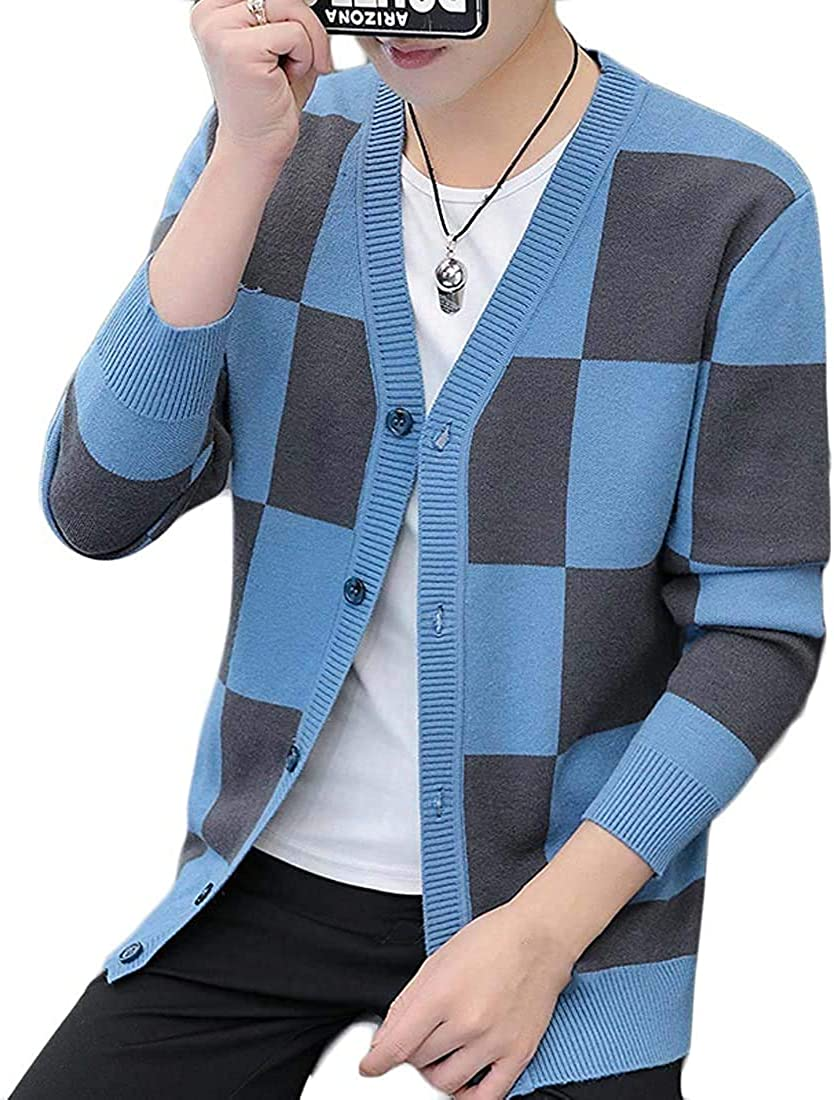 Men's Slim Classic Knitted Color Cardigan Down Year-end Gorgeous annual account Block Button Swea