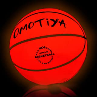 OMOTIYA LED Light Up Basketball – Size 7 Glowing Basketball with Pump Batteries